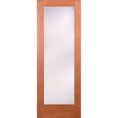 interior glass doors home depot feather river doors 24 in x 80 in 1 lite unfinished cherry privacy woodgrain interior door