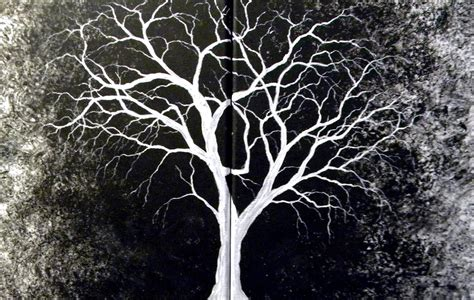 black and white tree introverted painting white tree original painting