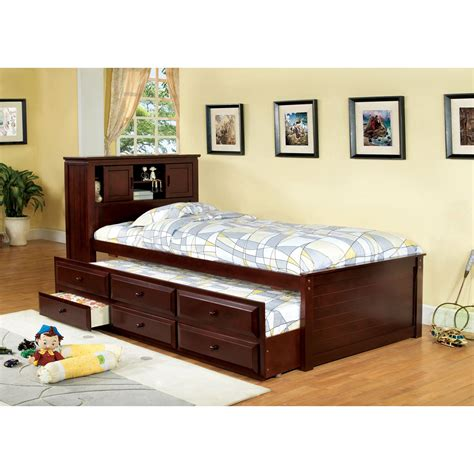 trundle bed with bookcase headboard furniture of america brighton bookcase headboard
