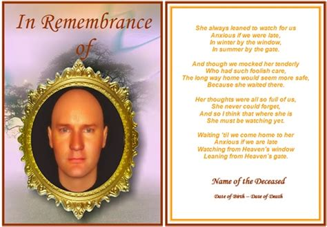 how to make funeral cards exle of rememberance funeral card the watcher