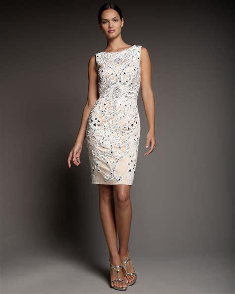 beaded white dress mandalay beaded dip back dress in white lyst