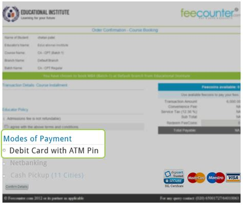 how to make payment using debit card feecounter payment options