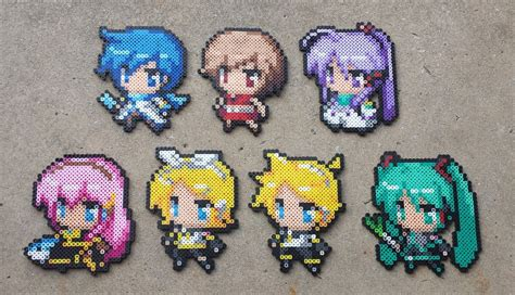 perler anime the big seven vocaloid perler bead sprite set by