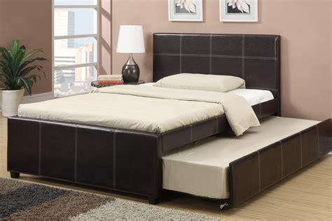 leather bed with trundle espresso faux leather size bed with trundle bed