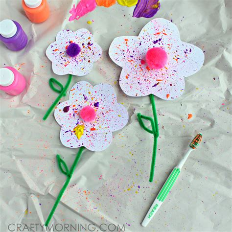 crafts for with paint splatter flower craft using a toothbrush crafty morning