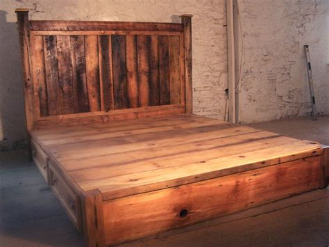 rustic pine bed frame reclaimed rustic pine platform bed with headboard and 4