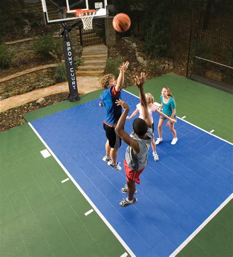backyard sport courts go green with a sport court backyard basketball court