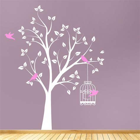 photo tree wall sticker tree with bird cage wall stickers by parkins interiors