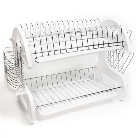 kitchen sink plate drainer home basics white 2 tier kitchen sink dish drainer set ebay