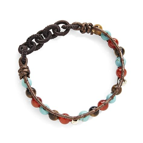 copper bead bracelet sterling silver turquoise bead copper leather stretch