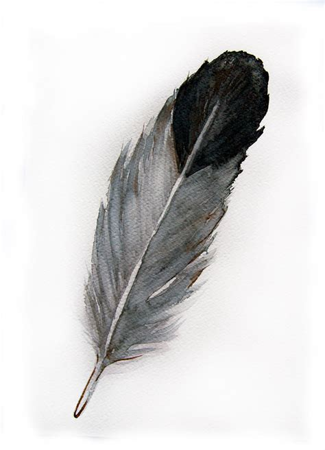 feather with watercolored feather original watercolor painting of