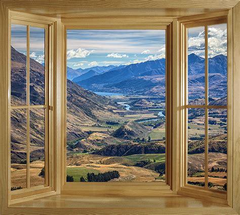 wim288 faux window frame wall mural mountain landscape