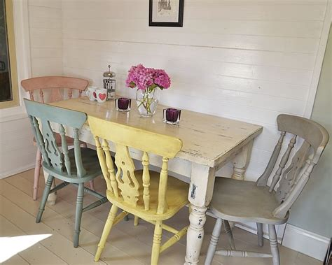 shabby chic tables and chairs this fabulous dining set has four pastel chairs painted in
