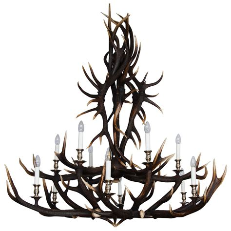custom chandelier custom made two tier antler chandelier for sale at 1stdibs