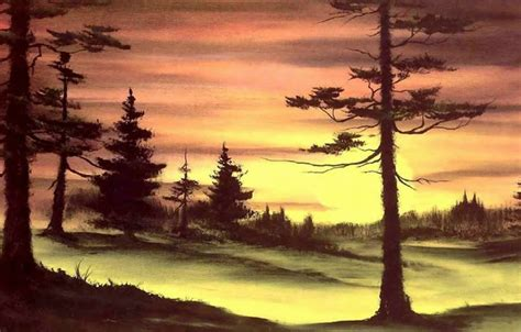 bob ross painting wallpaper 1920x1080 wallpaper forest the sun trees sunset nature picture