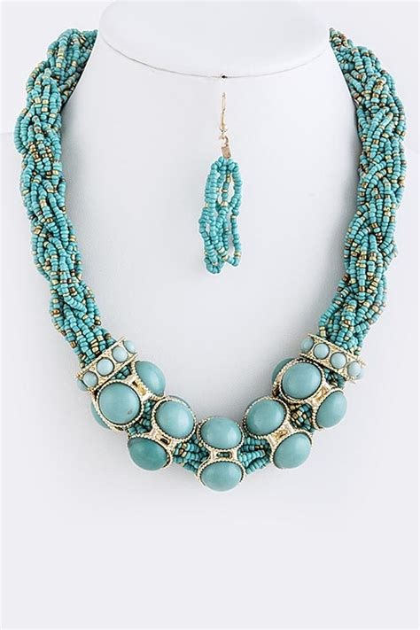 thick beaded necklace thick bead braided necklace set