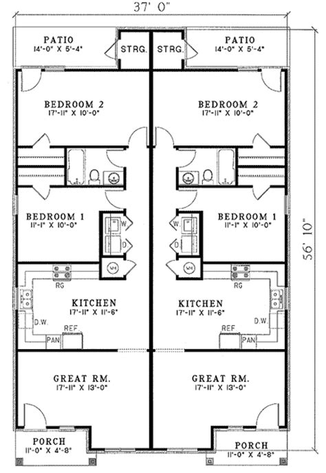 duplex floor plans for narrow lots architectural designs