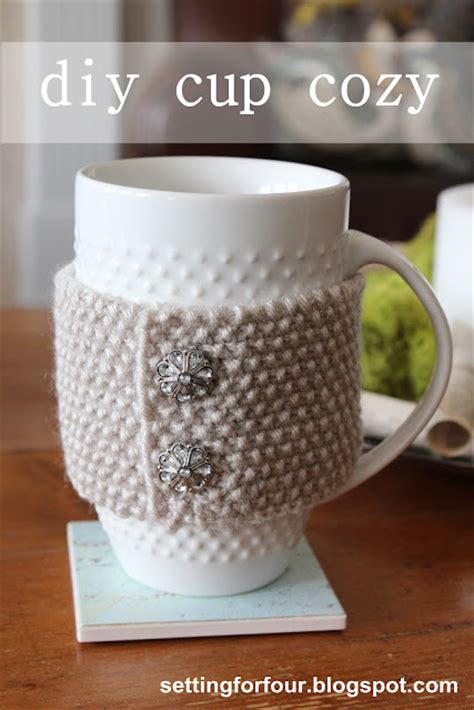 mug cosy knitting pattern diy knit cup cozy mug cozy page 2 of 2 setting for four