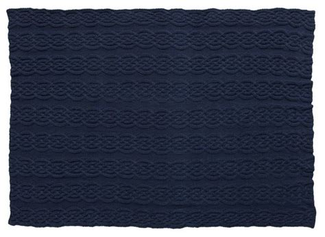 navy knitted throw cozy cable knit throw navy traditional throws by pbteen