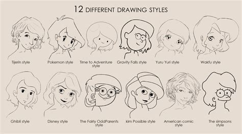 how to draw style 12 diferent drawing styles by goblinight on deviantart
