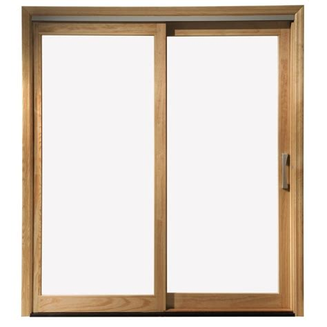 wood sliding glass patio doors shop pella 450 series 71 25 in clear glass wood sliding