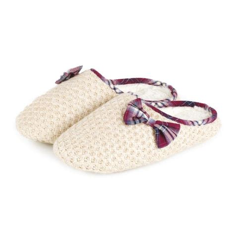 knitted mule slippers totes knitted mule with tartan trim slippers