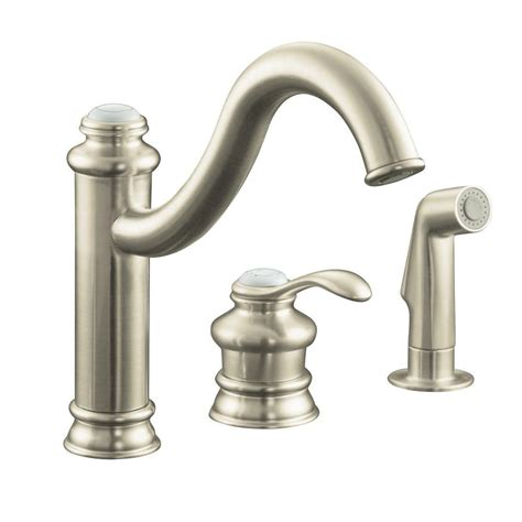 nickel faucets kitchen kohler fairfax single handle standard kitchen faucet with side sprayer and remote valve in