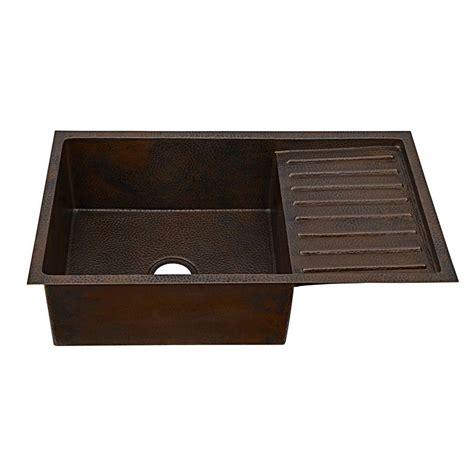kitchen sink with drainer board sinkology klee undermount handmade solid copper sink 33 in