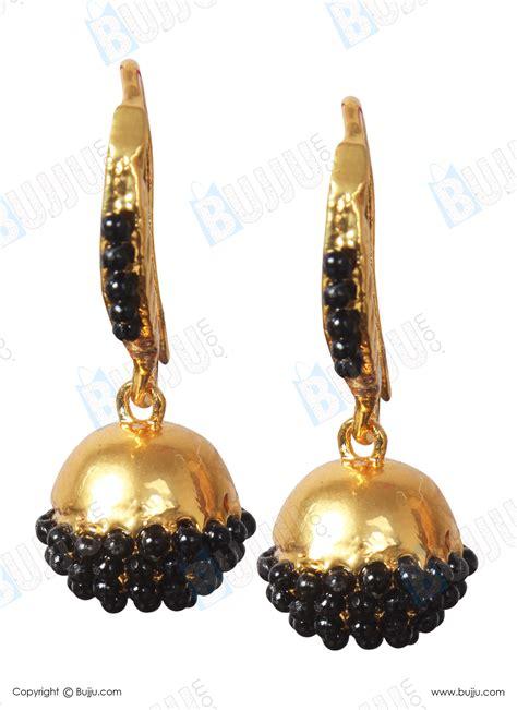 black bead earrings gold hanging earring with black