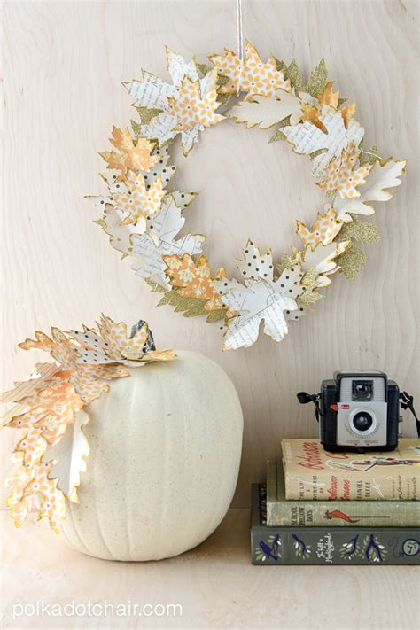 paper ideas crafts fall leaf wreath tutorial and quot no carve quot pumpkin ideas