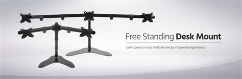 standing desk monitor mount monitor free standing desk mount 15 30 in