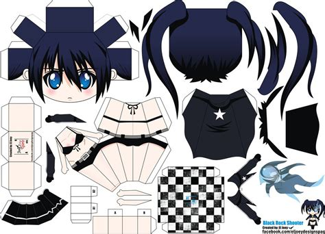 anime paper craft black rock shooter papercraft by eljoeydesigns on deviantart