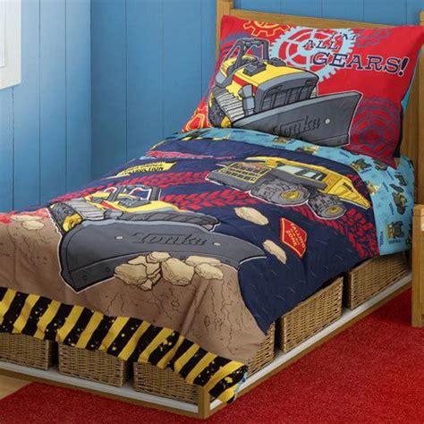 construction bed set 4pc tonka trucks construction toddler bedding set