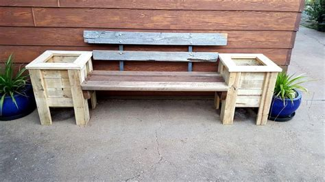 pallet planter boxes pallet bench seat and planter box 101 pallet ideas