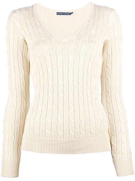 ralph womens cable knit sweater ralph v neck cable knit sweater in beige lyst