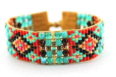 bead loom bracelet clasp beaded loom bracelet with turquoise rust and by litellejewelry