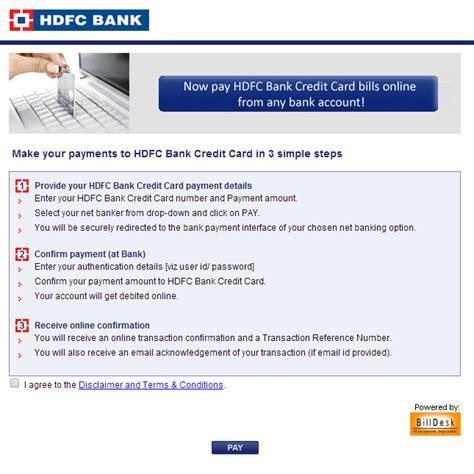 credit card make a payment hdfc bank credit card bill payment