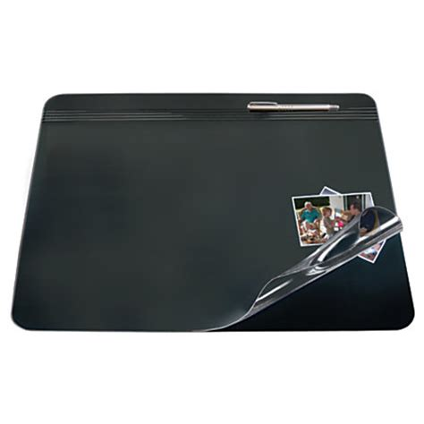 desk pads for office depot brand overlay desk pad 20 x 31 blackclear by