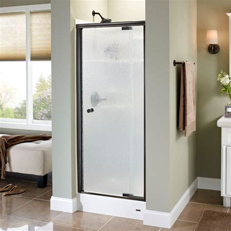 delta glass shower doors delta lyndall 31 in x 66 in semi frameless pivot shower
