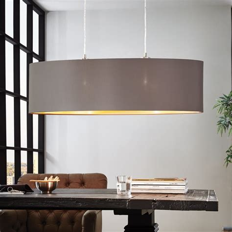 Eglo Esszimmerle by Eglo 31614 Maserlo Oval Cappucino And Gold Fabric Pendant