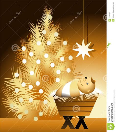 tree and jesus with baby jesus stock vector image 43417246