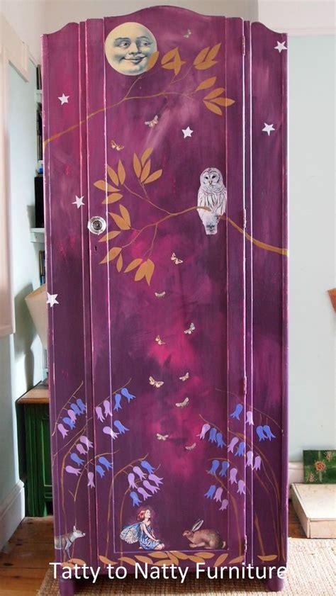 decoupage wardrobe vintage wardrobe cupboard chest painted purple