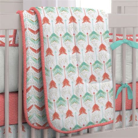 teal crib bedding coral and teal arrow crib comforter carousel designs
