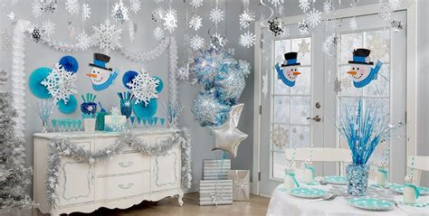 snow themed decorations snowflakes snowman theme city