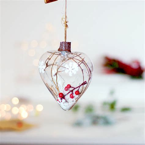 hanging baubles woodland glass hanging tree bauble decoration by
