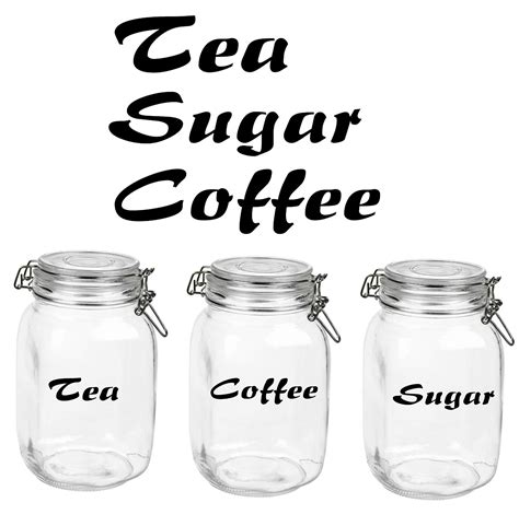Red Canister Sets Kitchen tea coffee sugar glass canister label decals stickers