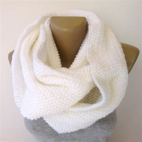 knitted white scarf white infinity scarf knit scarf scarf