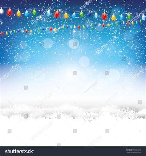 lights and snow blue background with lights and snow stock