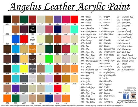 angelus paint mixing guide angelus acrylic leather paint 1 oz ca720