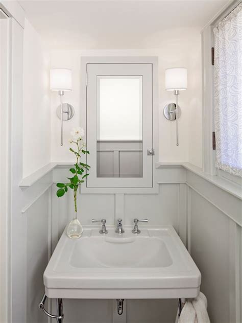 paint ideas for small powder room bathrooms chrome sconces fixtures gray wainscoting gray